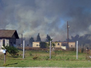 Homes burning in Alton