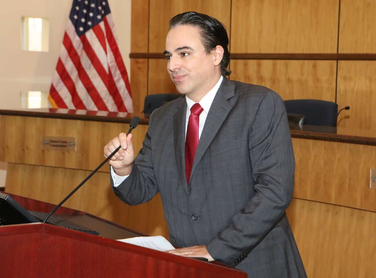 Featured: Rep. Terry Canales, D-Edinburg, who serves as Chair of the House Committee on Transportation, at Edinburg City Hall on Thursday, February 14, 2019. Photograph By MARK MONTEMAYOR