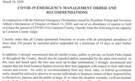 County Judge Eddie Trevino Jr. Issues An Emergency Order Canceling All Events Of More Than 250 For The Next 14 Days