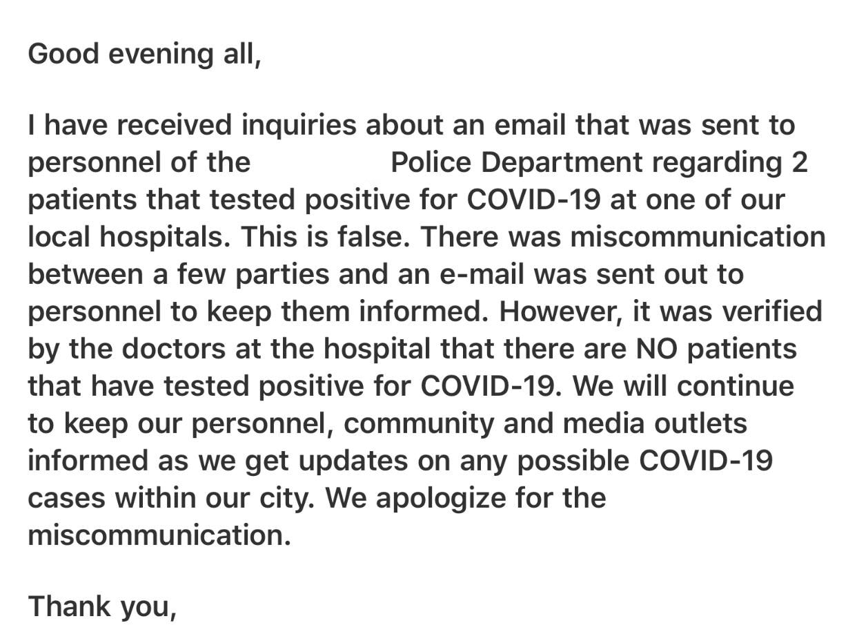 Official response about the inaccurate information.